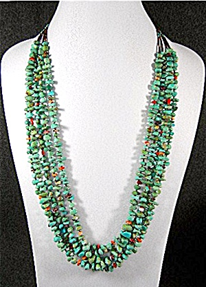 Native American Kingman Turquoise Spiny Oyster Necklace (Image1)