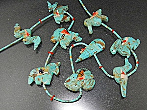 Fetish Animals Heishi Hand Carved Turquoise  Estate  (Image1)