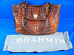 Brahmin Pecan Embossed Croc Leather Melbourne Bag