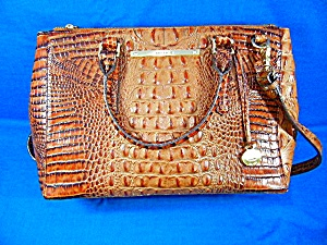 Brahmin Pecan Leather Lincoln Satchel Bag
