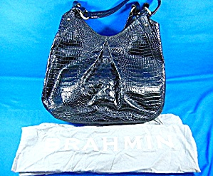 Brahmin Black Melbourne Anita Croc Embossed Leather