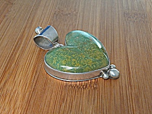 Pendant Green Turquoise Serling Silver Heart David Trou