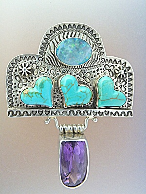 David Troutman & Gundiopal Turquoise Amethyst Sterling