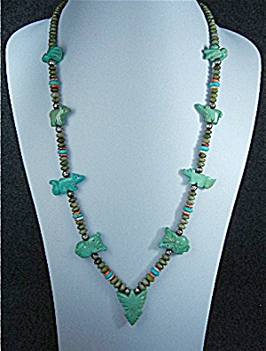 Navajo Carved Turquoise Sterling Silver Necklace S. Tur