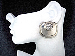 Sterling Silver Crytal Clip Earrings Designer ZINA (Image1)