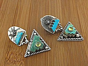 Earrings Sterling Silver Green Blue Turquoise Gundi  (Image1)
