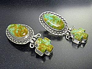 David Troutman Sterling Silver Kingman Turquoise Earrin (Image1)