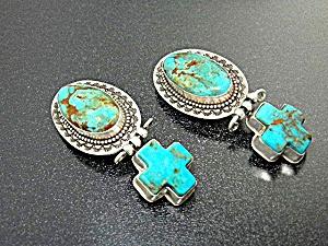 David Troutman Sterling Silver Turquoise Cross Earrings (Image1)