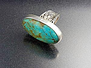 David Troutman  Sterling Silver Kingman Turquoise Ring  (Image1)