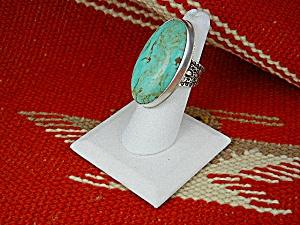 David Troutman Sterling Silver Green Turquoise Ring  (Image1)