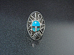 Calvin Begay Sterling Silver Turquoise Onyx Ring