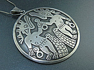 Taxco Mexico Sterling Silver Brooch Necklace Eagle #3 (Image1)