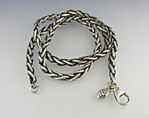 Necklace Wheat Chain Sterling Silver Signed RM (Image1)