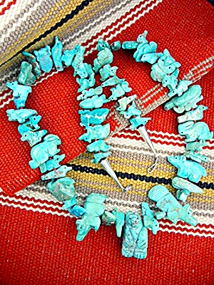 Fetish  Hand Carved Turquoise Stacey Turpen Necklace (Image1)
