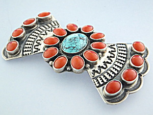 A. Cadman Brooch Pin Coral Turquoise Sterling Silver (Image1)