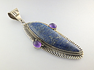 David Troutman Lapis Amethyst Sterling Silver Pendant (Image1)