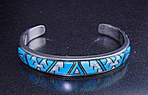 Calvin Begay Turquoise Opal Onyx Inlay Cuff Native Amer (Image1)