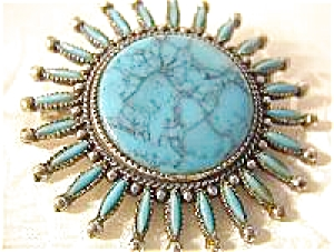 Turquoise Petit Point  Glass  Signed CANCRES Pin/Brooch (Image1)