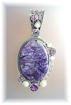 Pendant Sterling Silver Russian Charolite Pearl Amethys (Image1)