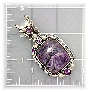 Pendant Sterling Silver Pearl Amethyst Russian Charolit (Image1)