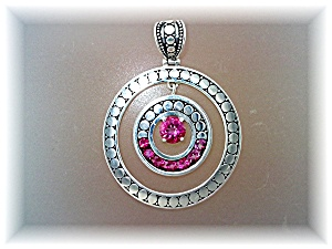 Pendant Pink Topaz Sterling Silver Circle By Peggy V (Image1)