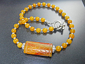 Carved Carnelian And Crystals Silver Toggle Necklace