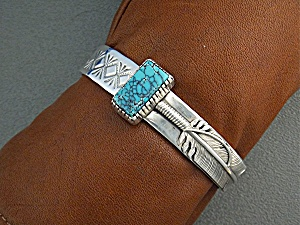 Native American Sterling Silver Turquoise Cuff Navajo (Image1)