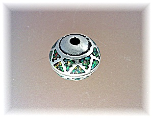 Pendant Bead Sterling Silver Pink Green Blue Opal Inlay (Image1)