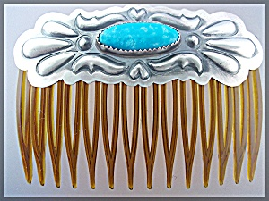 Native American Hair Comb Sterling Silver Turquoise  (Image1)