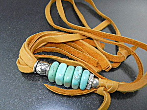 Turquoise Deerskin Leather Crystals Artist Necklace