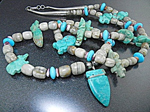 Native American Stacey Turpen Carved Turquoise Necklace (Image1)