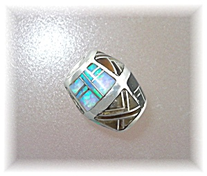 Pendant Bead Opal Jasper Onyx Sterling Silver Inlays (Image1)