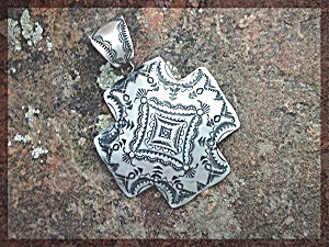 Native American Sterling Silver Cross VJ Pinto Pendant (Image1)
