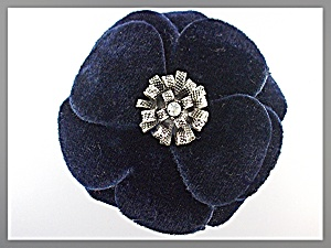 Hair Accessory Blue Velvet Silver Center Flower Clip