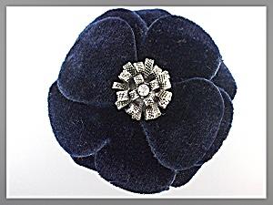 Hair Accessory Blue Velvet Silver Center  Flower Clip (Image1)