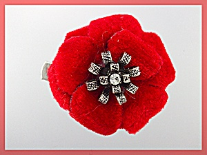 Hair Accessory Red Velvet Flower Crystal Center