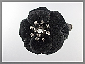 Hair Accessory Black Velvet Flower Clip Or Brooch