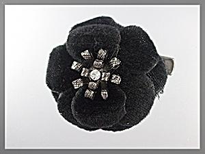Hair Accessory Black Velvet Flower Clip or Brooch (Image1)