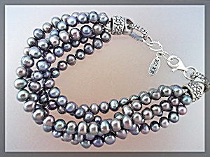 Bracelet Black Freshwater Pearls Sterling Silver Clasp