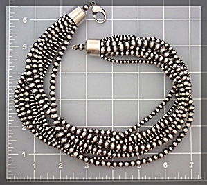 Native American 10 Strand Sterling Silver Beads (Image1)