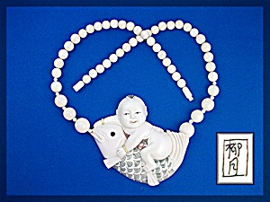 Ivory Baby Riding Fish Pre Ban 60s Signed Necklace