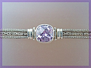 Bracelet Sterling Silver Square Amethyst Push Clasp (Image1)
