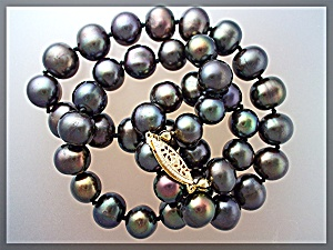 Necklace Freshwater Hand Knotted Black Pearls 10mm