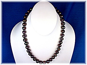 Necklace Black Freshwater Pearls Hand Knotted 9.3mm