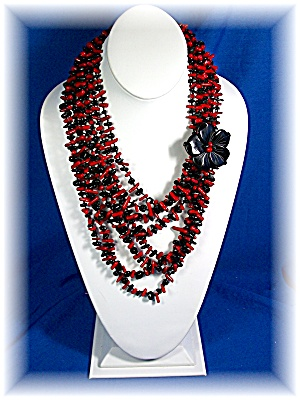 Necklace Coral Onyx Flower Necklace 8 Strand (Image1)