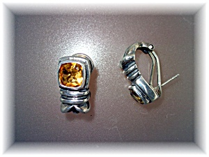 Earrings Citrine Sterling Silver French Back Pierced Ea (Image1)