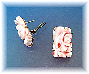 Earrings 14K Gold Carved Coral French Back Pierced (Image1)