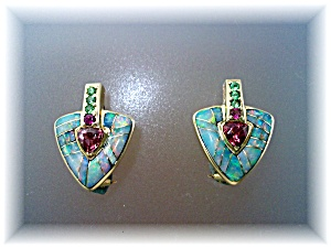 Earrings 14k Gold Natural Opal Tourmaline French Back  (Image1)