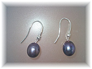 Earrings Black Freshwater Pearls Sterling Silver Loop P