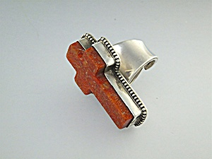 David Troutman Sterling Silver Coral Cross Ring (Image1)
